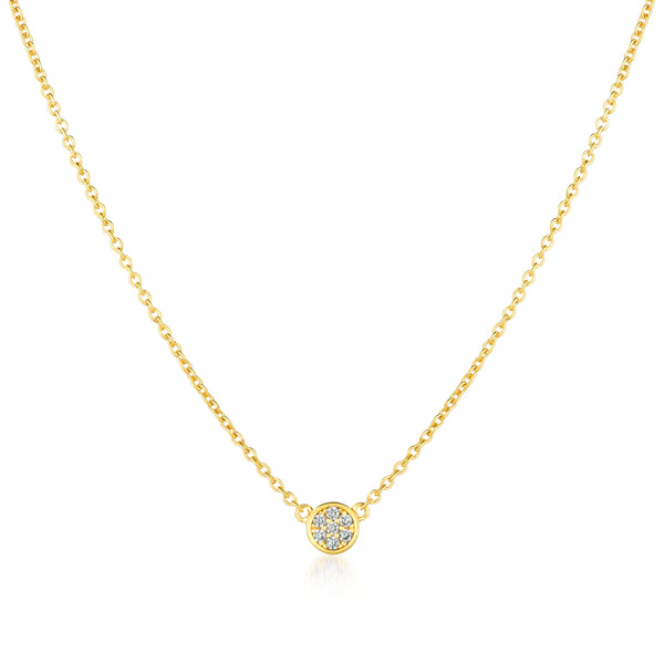 Single Sugar Drop Necklace Finished in 18kt Yellow Gold
