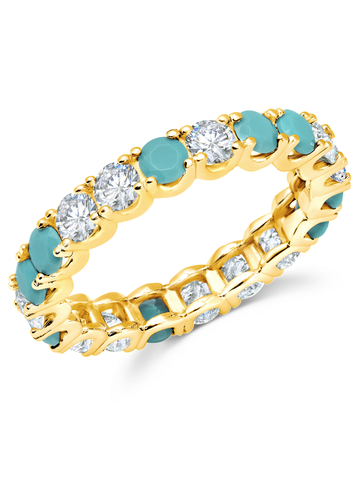 Turquoise  & Flawless Cubic Zirconia  Eternity Band In 18kt Yellow Gold