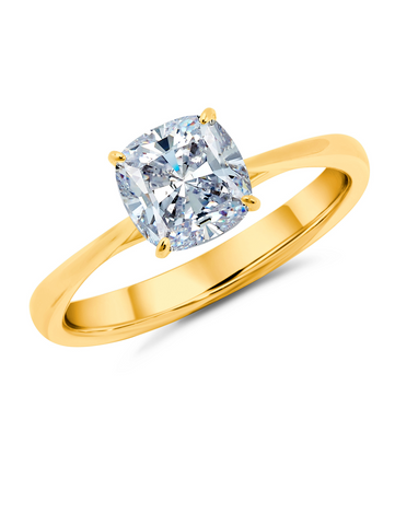 Cushion Cut Solitaire Ring Finished in 18kt Yellow Gold