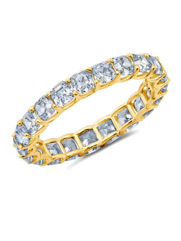 Small Asscher Cut Eternity Band Finished in 18kt Yellow Gold