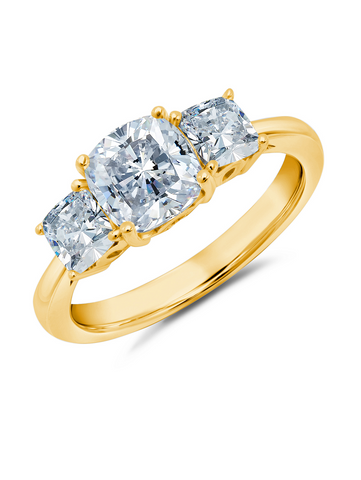 3 Stone Cushion Cut Ring Finished in 18kt Yellow Gold