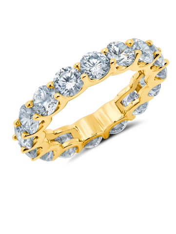 Large Round Cut Eternity Band Finished in 18kt Yellow Gold