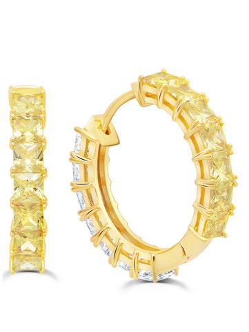 Gold Duo Hoops - 22 mm with Canary and Clear Stones