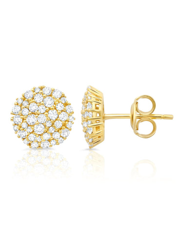 Round Glisten Stud Earrings finished in 18kt Gold