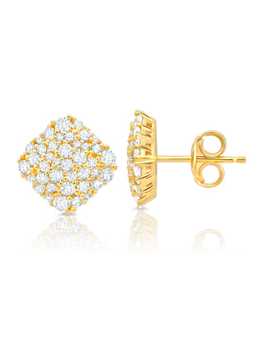 Gold Cushion Cut Glisten cubic zirconia Stud Earrings