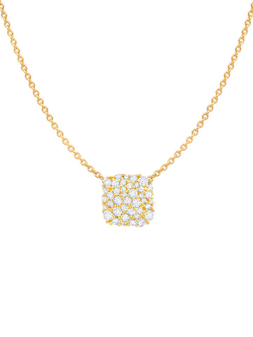 Gold cubic zirconia Cushion Cut Glisten Necklace