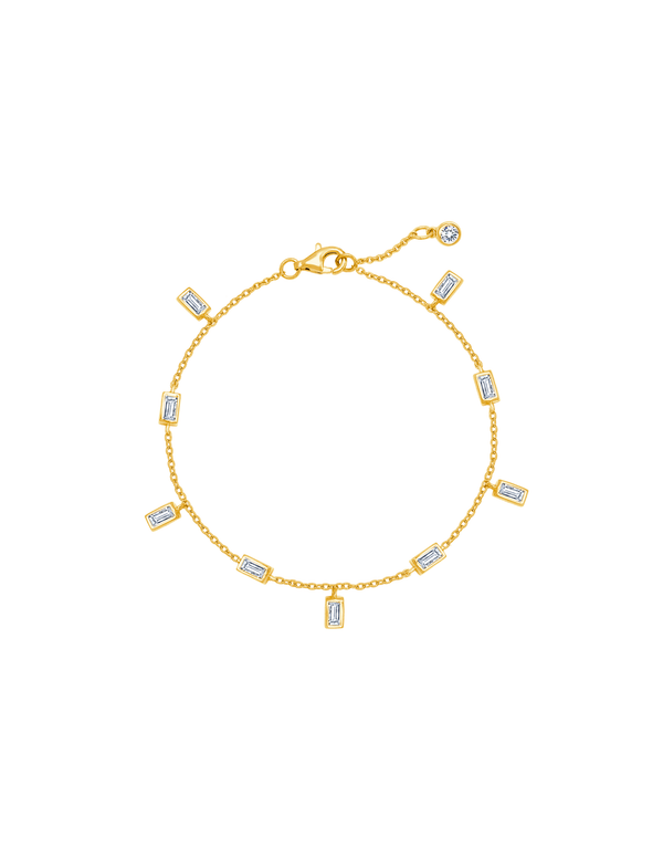 Baguette Anklet Finished in 18kt Yellow Gold