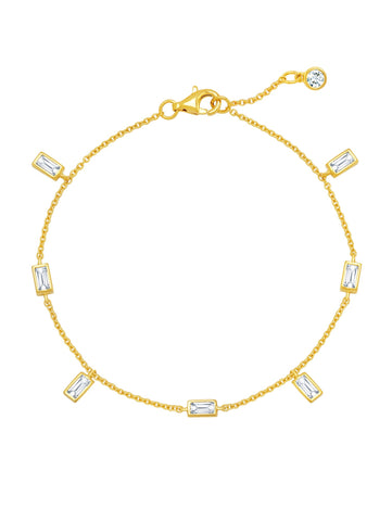 Prism Baguette Bracelet Finished in 18kt Yellow Gold