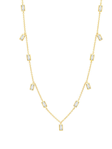 "Prism Baguette 16"" Necklace finished in 18KT Gold"