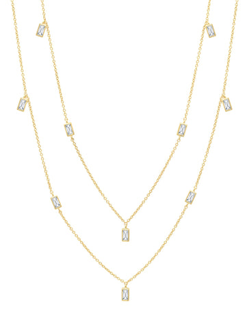 "Prism Baguette 36"" Necklace finished in 18KT Gold"