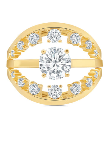 Round Prong Set Ring Set Finished in 18kt Yellow Gold