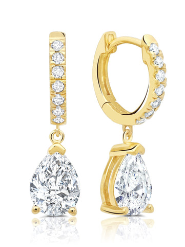 Pear Cut Huggie Hoop Drop Earrings Finished in 18kt Gold