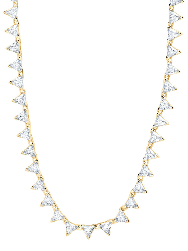 A Posh Trillion CZ Tennis Necklace Finished in 18kt Gold from CRISLU.