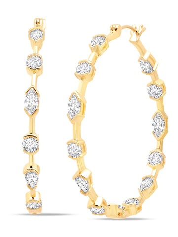 Lavish Cubic Zirconia Hoop Earrings Finished in 18kt Gold from CRISLU.