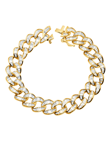 Ice'd Bold Chain Bracelet Finished in 18kt Yellow Gold
