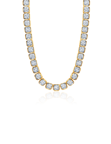 "Mens Asscher Cut 20"" Necklace Finished in 18kt Yellow Gold"