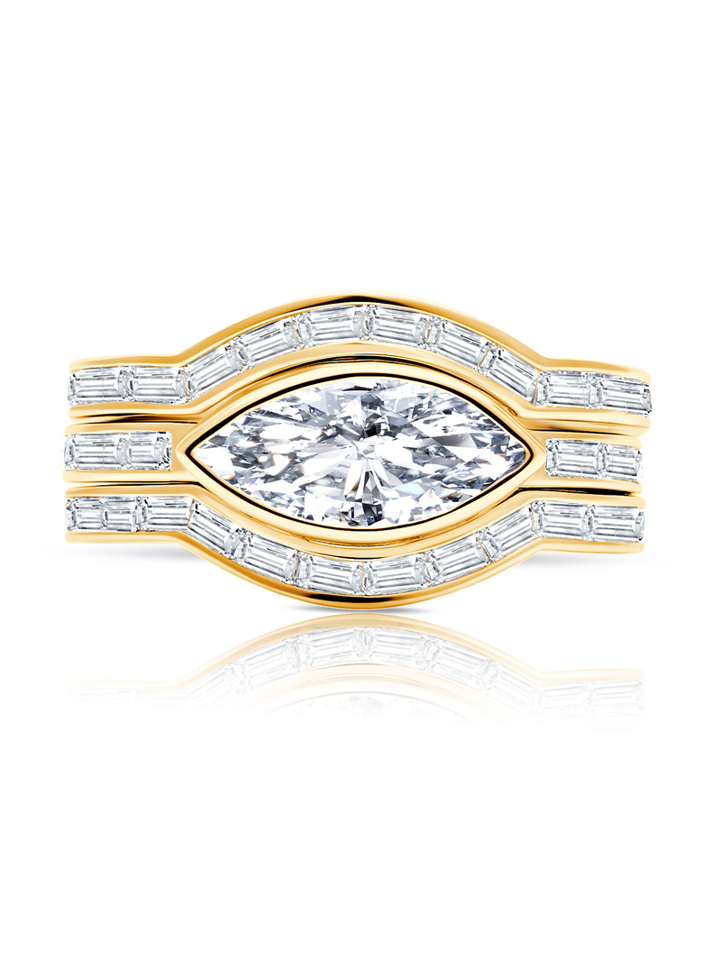 Marquise Solitaire w/ Baguette Accent Band Ring Set Finished in 18kt Yellow Gold