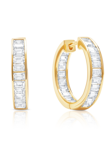 Parallel- 18k Gold Baguette Hoop Earrings