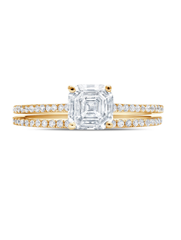 Small Royal Asscher Cut w/ Band Ring Set Finished in 18kt Yellow Gold