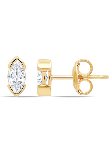 A pair of Lavish Split Bezel CZ Studs Finished in 18kt Gold from CRISLU.