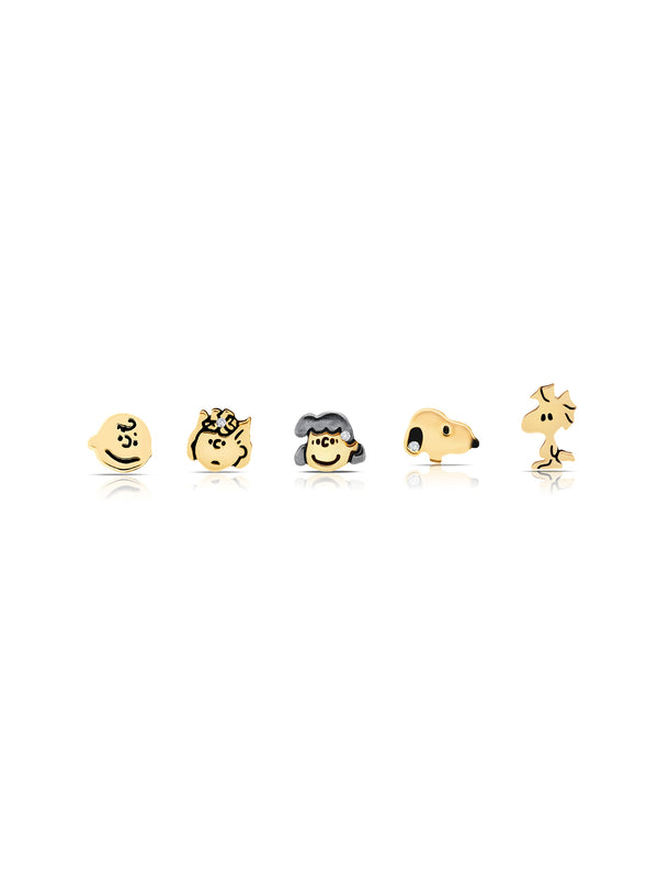 Snoopy & the Gang Stud Earrings Set in 18kt Yellow Gold