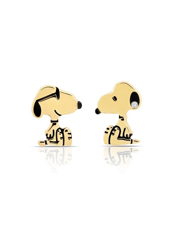 Snoopy Stud Earrings in 18kt Yellow Gold