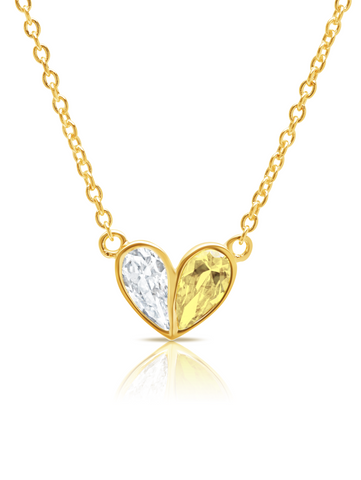 Crush- 18kt Gold Small Heart Necklace w/ Canary Pear Cut Stone