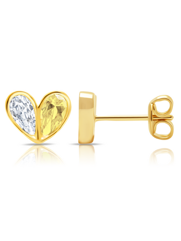 Crush- 18kt Gold Heart Earrings w/ Canary Pear Cut Stone