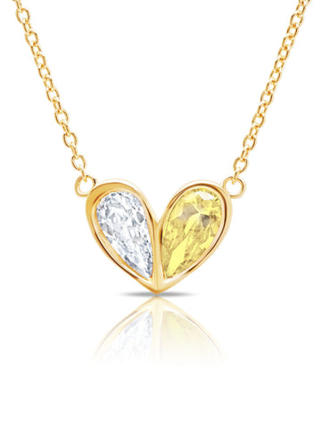 Crush- 18kt Gold Heart Necklace w/ Canary Pear Cut Stone