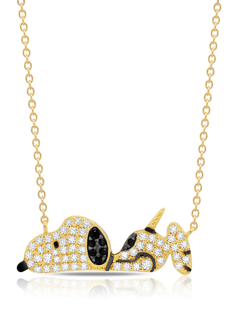 Snoopy Laying Down Necklace in 18kt Yellow Gold
