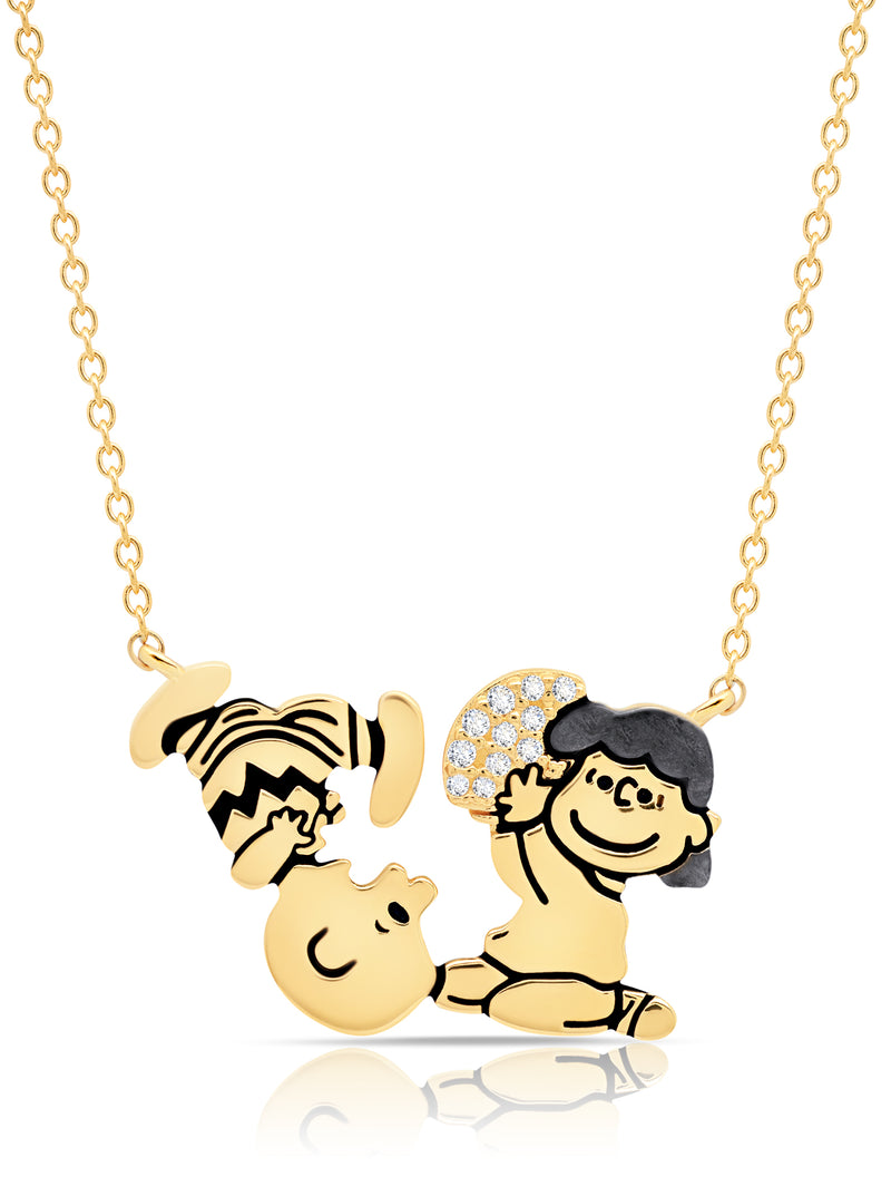 Charlie Brown & Lucy Football Necklace Finished in 18Kt Yellow Gold