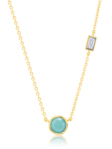Small Turquoise Necklace accented with Flawless Baguette Cubic Zirconia in Yellow Gold