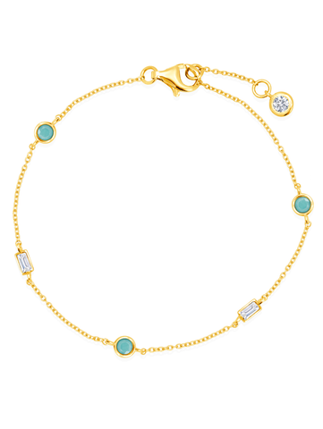 Turquoise Baguette CZ Staion Bracelet In 18KT Yellow Gold