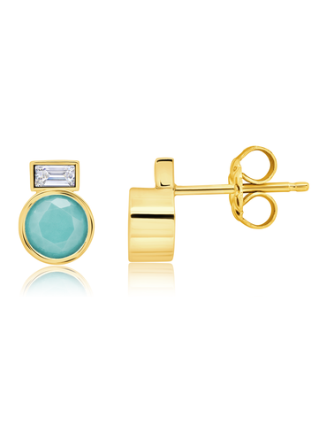 Turquoise Stud Earrings and Baguette Stone In 18kt Yellow Gold
