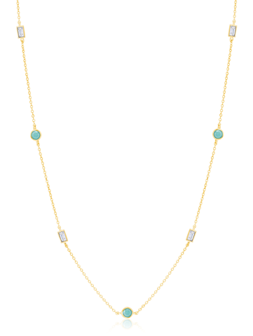 "Turquoise and Baguette  16""+2"" Multi  Station Necklace In 18kt Yellow Gold"
