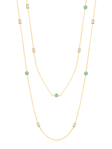 "Turquoise and Baguette 36"" Multi Station Necklace In 18kt Yellow Gold"