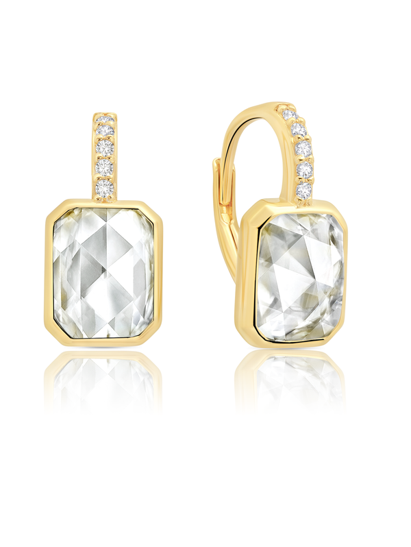 Classic Rosecut Hexagon Leverback Drop Earrings In 18kt Yellow Gold