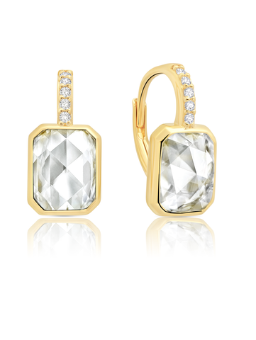 Classic Rosecut Hexagon Leverback Earring In 18KT Yellow Gold