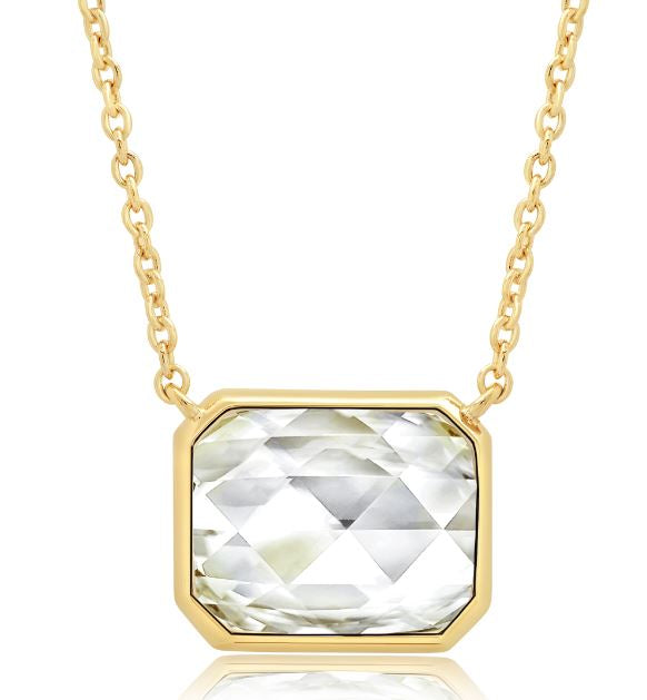"Classic Rosecut Hexagon 16""+2"" Adjustable Necklace In 18kt Yellow Gold"