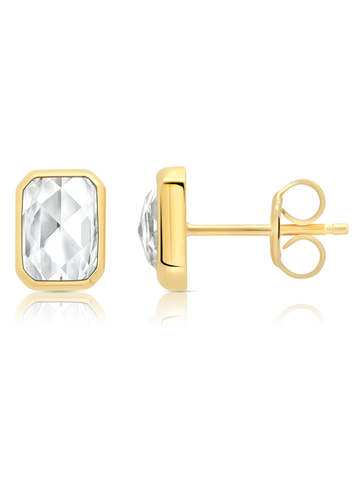 Classic Rosecut Hexagon stud earrings In 18KT Yellow Gold