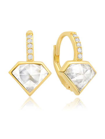 Classic Rosecut Diamond shape Leverback Drop Earrings In 18kt Yellow Gold