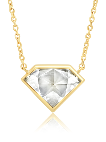 "Classic Rosecut Diamond shape  16""+2"" Adjustable Necklace In 18KT Yellow Gold"