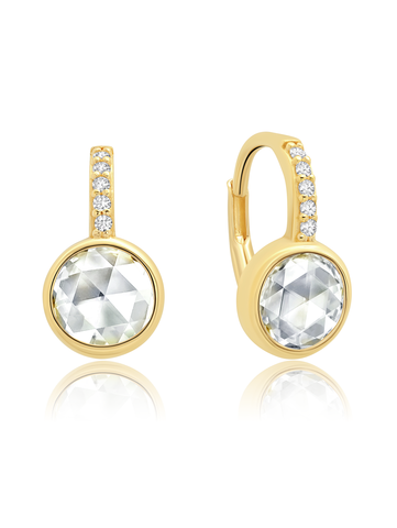 Classic Rosecut Brilliant  Leverback Earring  In 18KT Yellow Gold