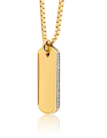 Mens Matte Box Chain Dog Tag Necklace with Baguettes Finished in 18kt Yellow Gold