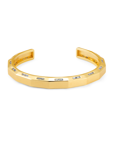 Mens Bolt Cuff Bangle with Baguettes Finished in 18kt Yellow Gold