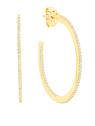Thin Diamond Edge Pave Hoop Earring 18KT Yellow Gold