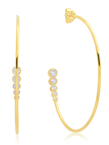 Graduated 3 stone  Bezel Set Hoop Earrings Earring 18KT Yellow Gold