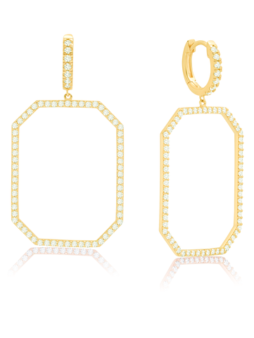Open OctagonFront Facing Pave Hoop Earrings 18KT Yellow Gold