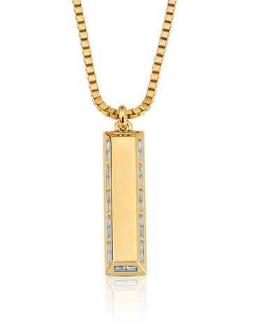Mens Matte Box Chain Bar Necklace with Baguettes Finished in 18kt Yellow Gold