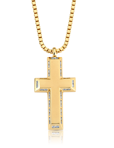 Mens Matte Box Chain Cross Necklace with Baguettes Finished in 18kt Yellow Gold